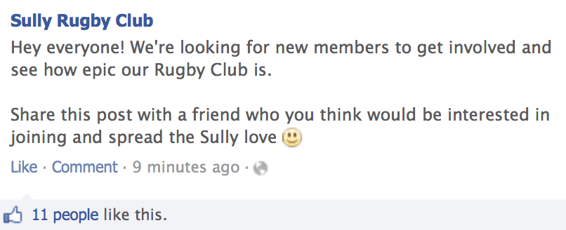 How To Attract More People To Your Sports Club: Example Facebook Post