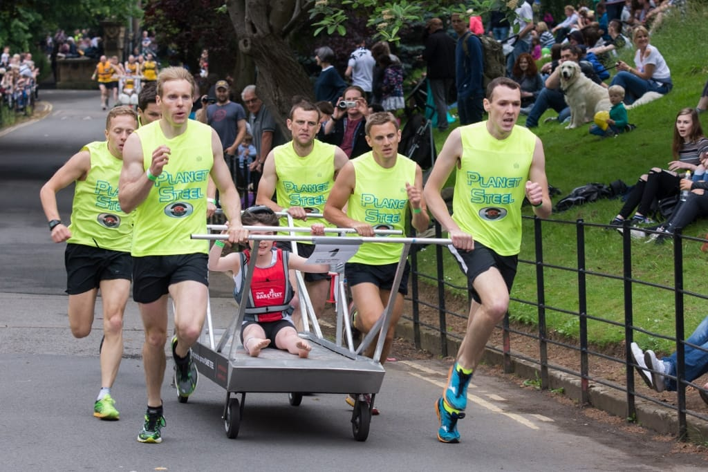 Planet Steel in bed race action