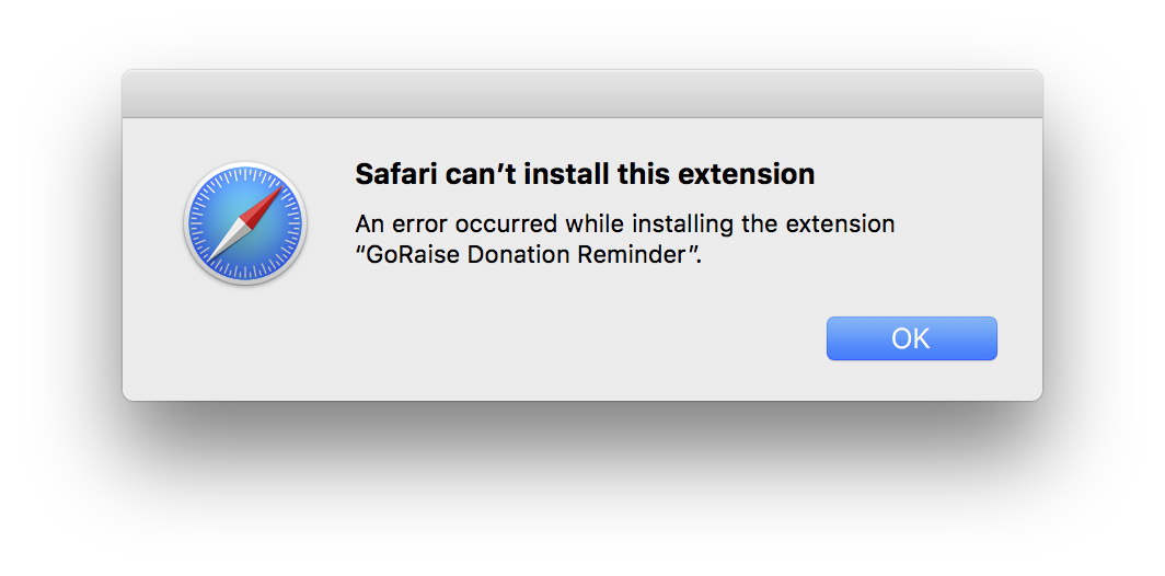 Safari can't install this extension. An error occurred while installing the extension '1Password'.